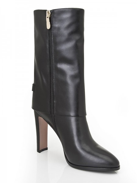 SheenOut Chunky Heel Closed Toe Cattlehide Leather Mid-Calf Black Boots S5LSDN1189LF