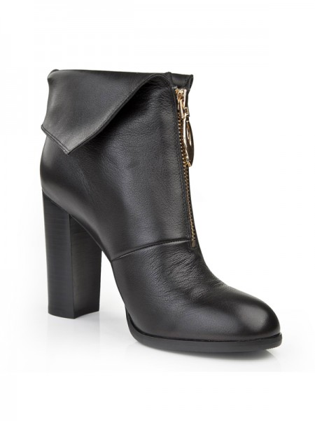 SheenOut Chunky Heel Closed Toe Cattlehide Leather Booties/Ankle Black Boots S5LSDN1190LF