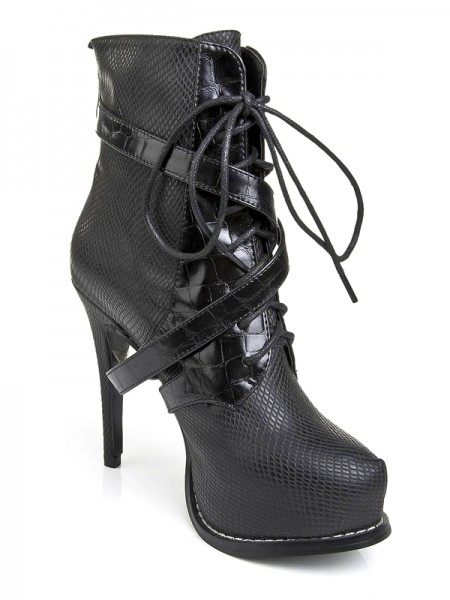 SheenOut Cattlehide Leather Platform Stiletto Heel With Lace-up Black Boots S5LSDN1198LF