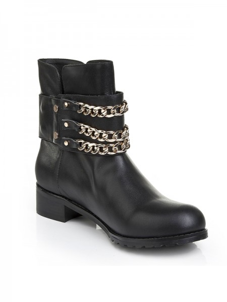 SheenOut Cattlehide Leather Kitten Heel With Chain Booties/Ankle Black Boots S5LSDN1199LF