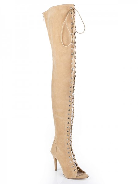 SheenOut Suede Stiletto Heel Peep Toe With Lace-up Over The Knee Champagne Boots S5LSDN1204LF