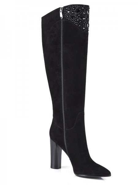 SheenOut Suede Chunky Heel Closed Toe With Rhinestone Knee High Black Boots S5LSDN1205LF