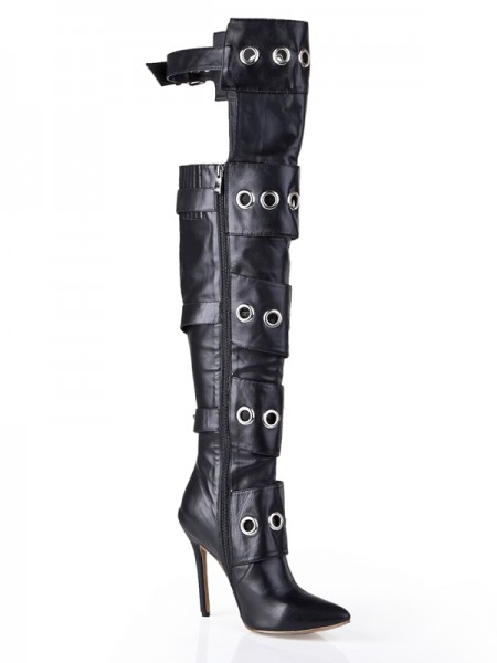 SheenOut Cattlehide Leather Stiletto Heel With Buckle Knee High Black Boots S5LSDN1207LF
