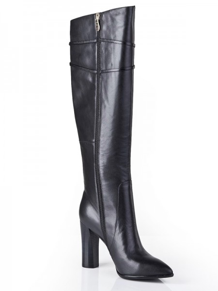 SheenOut Cattlehide Leather Chunky Heel With Zipper Knee High Black Boots S5LSDN1208LF