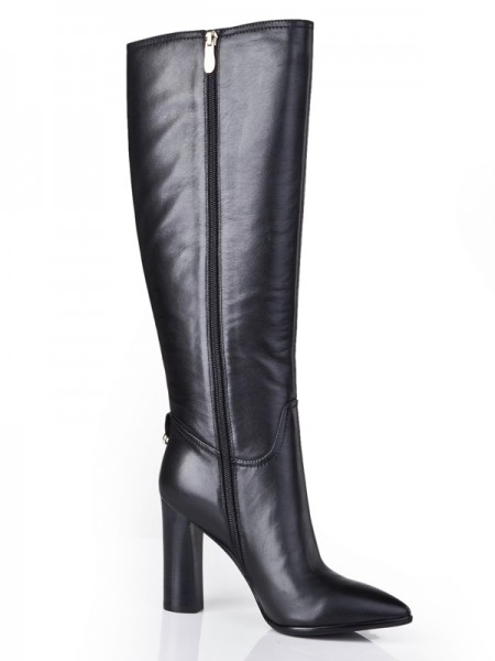 SheenOut Cattlehide Leather Closed Toe Chunky Heel With Zipper Mid-Calf Black Boots S5LSDN1211LF