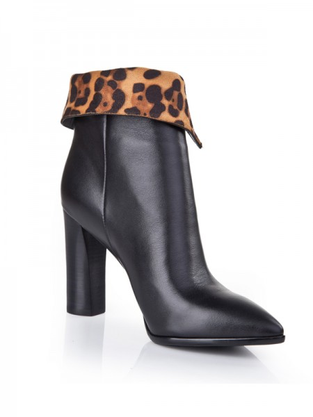 SheenOut Sheepskin Closed Toe Chunky Heel With Zipper Booties/Ankle Black Boots S5LSDN1212LF