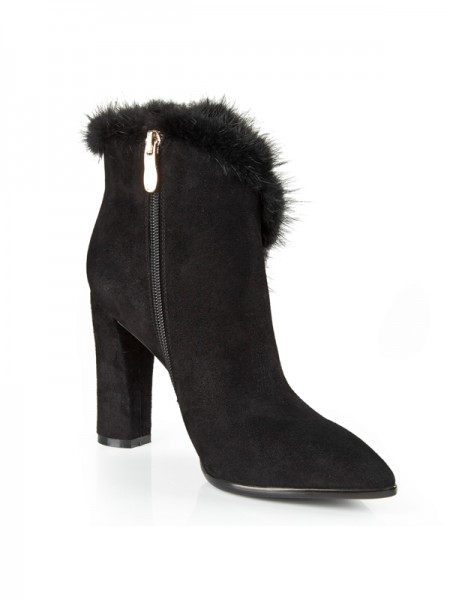 SheenOut Suede Closed Toe Chunky Heel With Rhinestone Booties/Ankle Black Boots S5LSDN1213LF