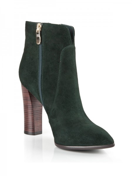 SheenOut Suede Closed Toe Chunky Heel With Zipper Booties/Ankle Hunter Green Boots S5LSDN1214LF
