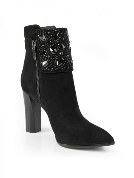 SheenOut Chunky Heel Suede Closed Toe With Rhinestone Booties/Ankle Black Boots S5LSDN1215LF