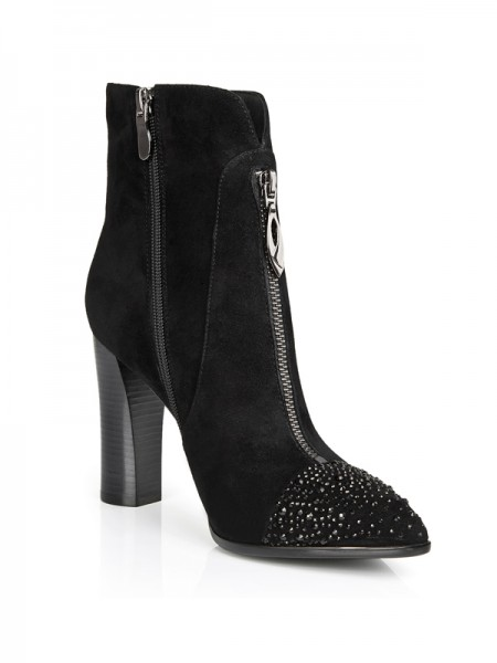 SheenOut Suede Closed Toe Chunky Heel With Rhinestone Booties/Ankle Black Boots S5LSDN1216LF