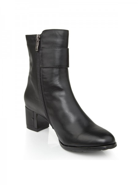 SheenOut Cattlehide Leather Chunky Heel With Zipper Booties/Ankle Black Boots S5LSDN1229LF