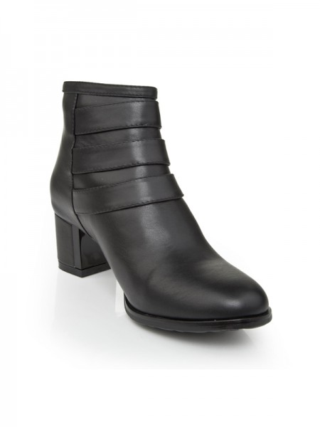 SheenOut Kitten Heel Cattlehide Leather With Zipper Booties/Ankle Black Boots S5LSDN1230LF