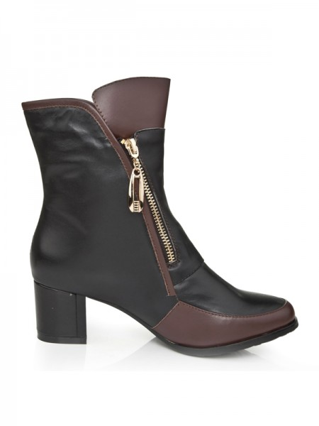 SheenOut Cattlehide Leather Kitten Heel With Zipper Booties/Ankle Black Boots S5LSDN1231LF