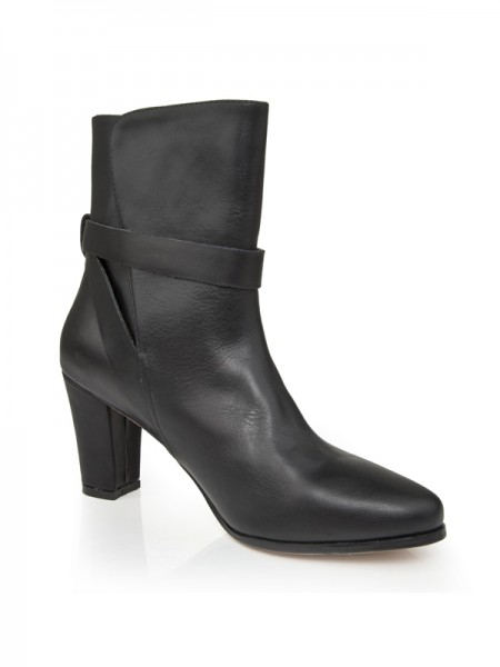 SheenOut Sheepskin Chunky Heel Closed Toe With Buckle Mid-Calf Black Boots S5LSDN1233LF