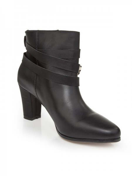 SheenOut Cattlehide Leather Chunky Heel With Buckle Booties/Ankle Black Boots S5LSDN1240LF