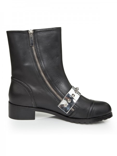 SheenOut Cattlehide Leather Kitten Heel With Rivet Mid-Calf Black Boots S5LSDN1241LF