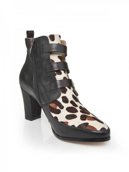 SheenOut Chunky Heel Cattlehide Leather With Buckle Booties/Ankle Multi Colors Boots S5LSDN1242LF