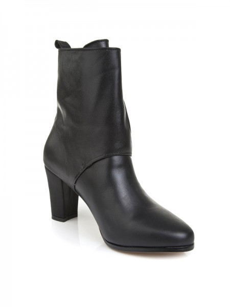 SheenOut Cattlehide Leather With Buckle Chunky Heel Mid-Calf Black Boots S5LSDN1244LF