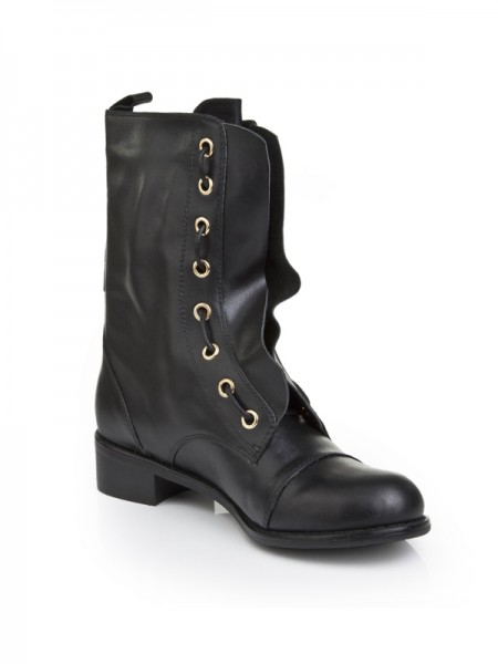 SheenOut Cattlehide Leather With Lace-up Kitten Heel Mid-Calf Black Boots S5LSDN1245LF