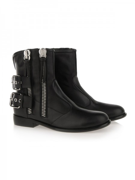 SheenOut Cattlehide Leather With Zipper Kitten Heel Booties/Ankle Black Boots S5LSDN1247LF
