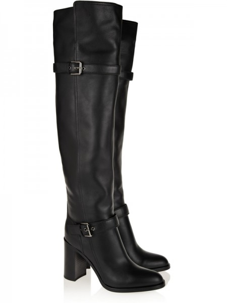 SheenOut Chunky Heel Cattlehide Leather With Buckle Knee High Black Boots S5LSDN1249LF