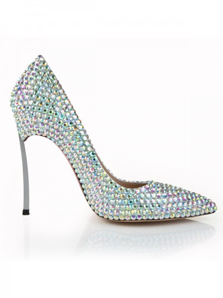 SheenOut Stiletto Heel Closed Toe Patent Leather With Rhinestone High Heels S5LSDN1267LF