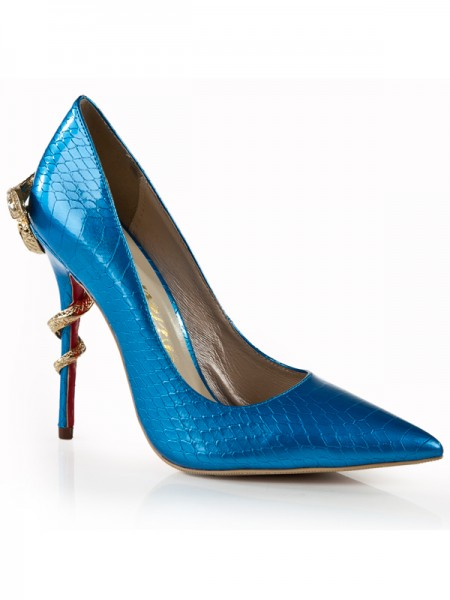 SheenOut Stiletto Heel Royal Blue Closed Toe With Rhinestone High Heels S5LSDN1284LF