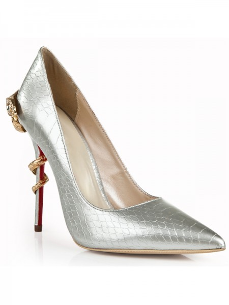 SheenOut Patent Leather Stiletto Heel Silver Closed Toe With Rhinestone High Heels S5LSDN1286LF