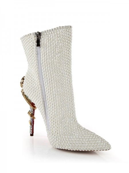 SheenOut Patent Leather Stiletto Heel With Pearl Mid-Calf White Boots S5LSDN1303LF