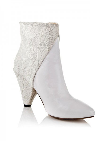 SheenOut Cattlehide Leather Net Cone Heel With Lace Ankle White Boots S5LSDN1304LF
