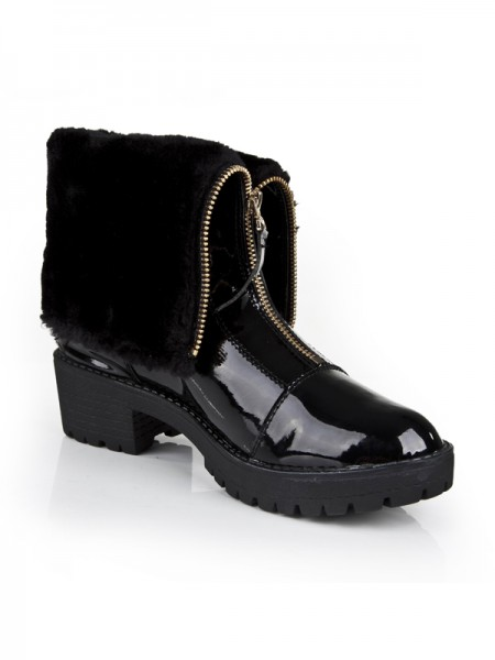 SheenOut Closed Toe Patent Leather Kitten Heel With Zipper Ankle Black Boots S5LSDN1306LF