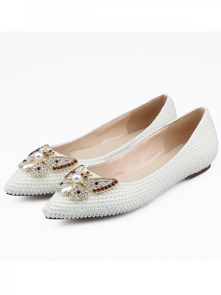 SheenOut Patent Leather Closed Toe Rhinestones Flat Shoes S5LSDN1605074LF