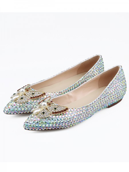 SheenOut Sheepskin Closed Toe Rhinestones Flat Shoes S5LSDN1605075LF