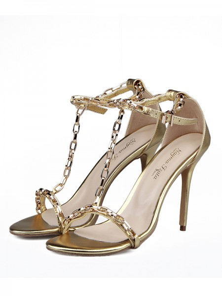 SheenOut Sheepskin Peep Toe With Chain Stiletto Heel Sandals Shoes S5LSDN1605085LF