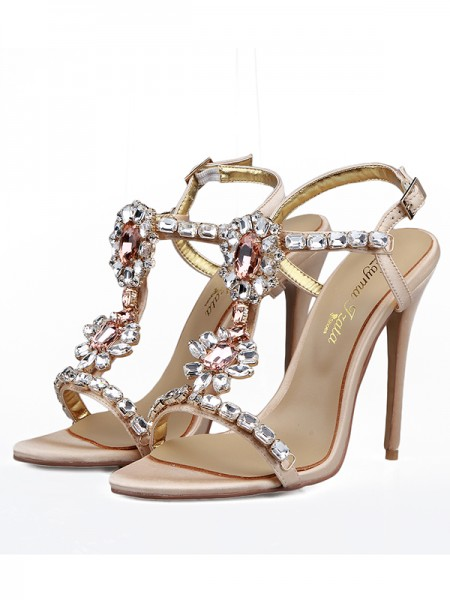 SheenOut Satin Peep Toe With Rhinestones Stiletto Heel Sandals Shoes S5LSDN1605086LF