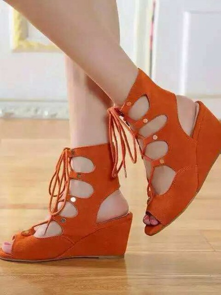 SheenOut Wedge Heel Suede Peep Toe With Lace-up Sandal Ankle Orange Boots S5LSDN52513LF