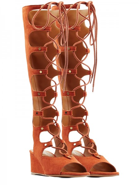 SheenOut Wedge Heel Peep Toe Suede With Lace-up Sandal Knee High Orange Boots S5LSDN52514LF
