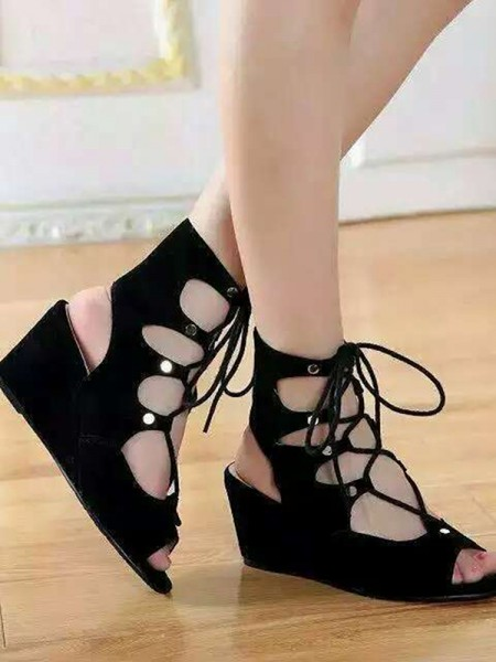SheenOut Suede Wedge Heel Peep Toe With Lace-up Sandal Ankle Black Boots S5LSDN52517LF