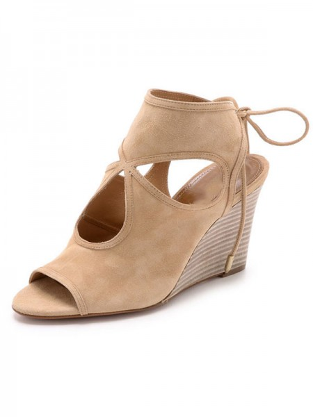 SheenOut Peep Toe Suede Wedge Heel With Lace-up Sandal Ankle Champagne Boots S5LSDN52518LF