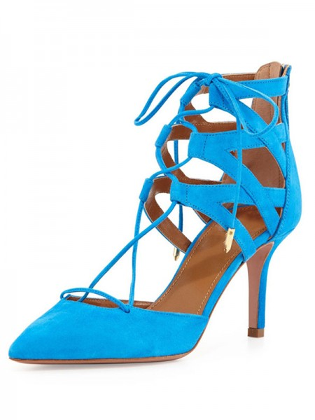SheenOut Suede Stiletto Heel Closed Toe With Lace-up Sandals Shoes S5LSDN52519LF