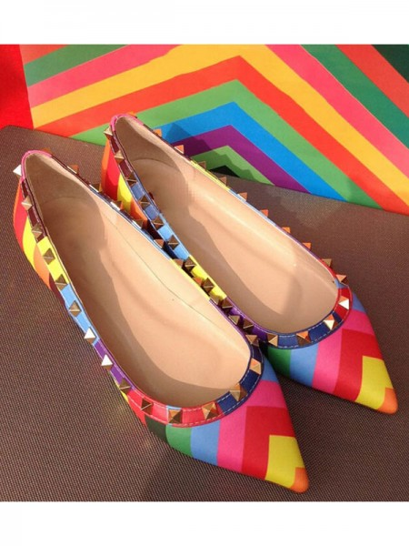 SheenOut Colorful Flat Heel Sheepskin Closed Toe With Rivet Flat Shoes S5LSDN52523LF