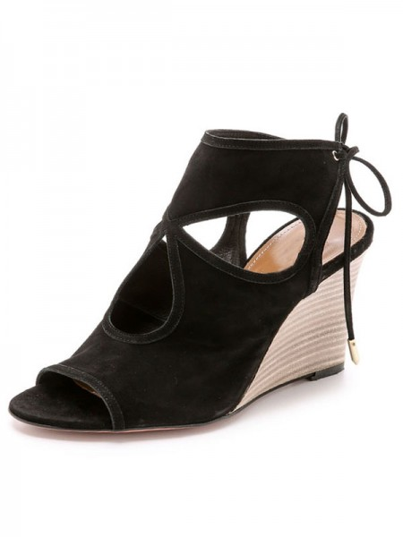 SheenOut Wedge Heel Suede Peep Toe With Lace-up Sandal Ankle Black Boots S5LSDN52528LF