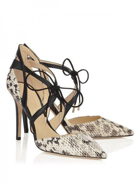 SheenOut Stiletto Heel Sheepskin Closed Toe With Lace-up Sandals Shoes S5LSDN52534LF