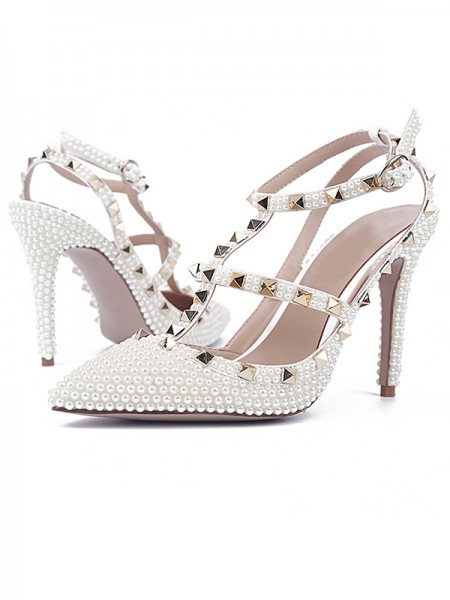 SheenOut Patent Leather Stiletto Heel Closed Toe With Rivet Sandals Shoes S5LSDN52553LF