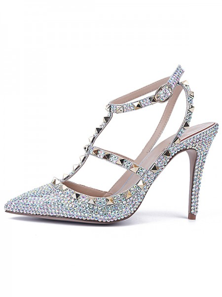 SheenOut Stiletto Heel Patent Leather Closed Toe With Rhinestone Sandals Shoes S5LSDN52554LF