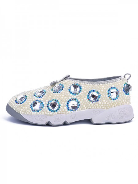 SheenOut Patent Leather Flat Heel Closed Toe With Pearl White Fashion Sneakers S5LSDN52557LF