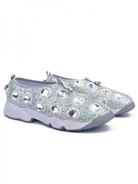SheenOut Flat Heel Patent Leather Closed Toe With Rhinestone Silver Fashion Sneakers S5LSDN52558LF