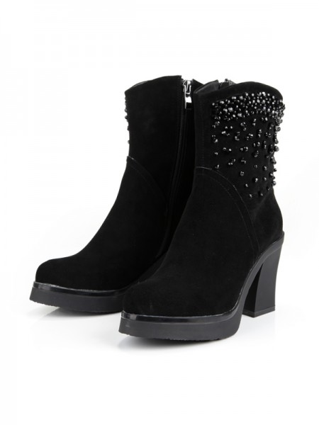 SheenOut Chunky Heel Platform Closed Toe Suede With Zipper Mid-Calf Black Boots S5MA0349LF
