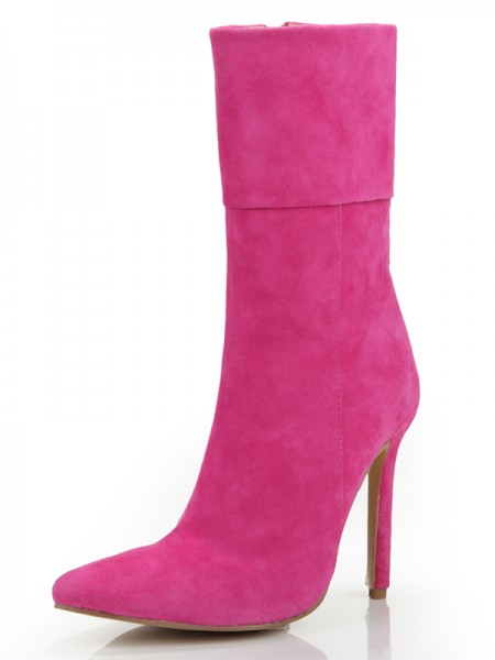 SheenOut Stiletto Heel Closed Toe Suede With Zipper Mid-Calf Fuchsia Boots S5MA0350LF