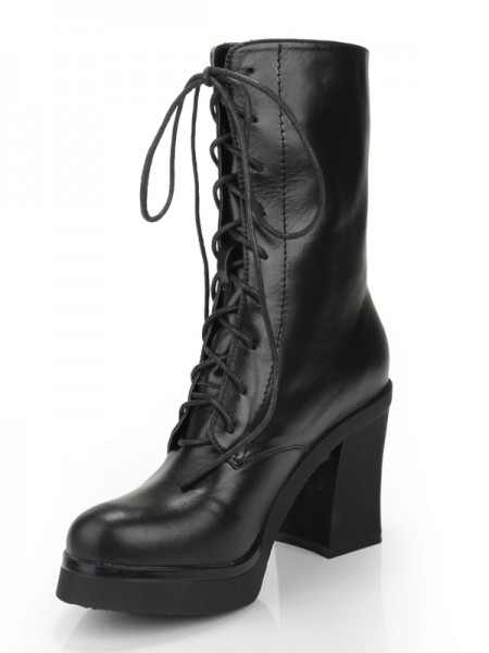SheenOut Chunky Heel Closed Toe Cattlehide Leather With Lace-up Mid-Calf Black Boots S5MA0352LF